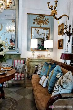 French and European antiques highlighting some of Bremermann's signature color scheme of exquisite blues, whites and golds. Antique Interior, French Interior, Interior Decorating, Interior Design, French Country Decorating, Beautiful Interiors, Decoration, Interior Inspiration, House Design