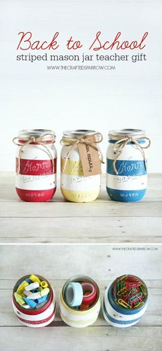 Back to School Striped Mason Jars | 14 DIY Back to School Supplies For All Ages