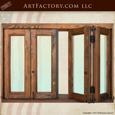 Custom Bi-Fold Windows: Hand Built Solid Wood Frames - master handcrafted, and customized for your exact size requirements and specifications Wooden Window Design, Wooden Window Frames, Wooden Windows, Custom Windows, Windows And Doors, Stained Glass Designs, Exterior Doors, Custom Wood, Wood Doors