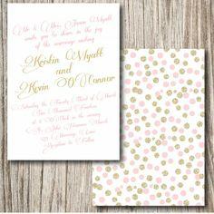 Gold and Blush Wedding Invitation