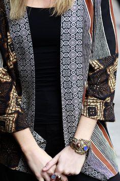 McCall's designer Melissa Watson wearing her own kimono pattern, M7132. Closeup shot.
