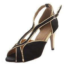 CRC Womens Stylish BlackGold Micro Suede Ballroom Morden Tango Party Wedding Professional Dance Shoes 105 M US ** Visit the image link more details.(This is an Amazon affiliate link)