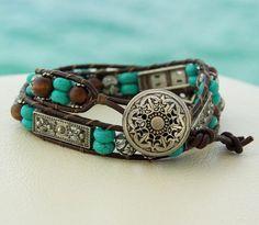 Country Style.... Leather Wrap Bracelet....  looking sooo  nice. Original OceanBead style