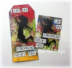 Susanne Rose - Papierkleckse: Mixed Media Tag & ATC with Visible Image Stamps