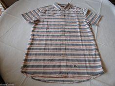 Men's Quiksilver Haano SS short sleeve button up shirt XXL BRQ0 striped Modern #Quiksilver #ButtonFront