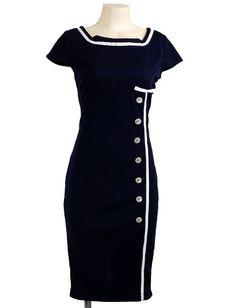 Sailor Dress From Ebay http://www.ebay.com.au/itm/Joan-Mad-Men-Retro-Navy-Sailor-Nautical-Pinup-Rockabilly-Wiggle-Pencil-Dress-S-/400513544411?pt=US_CSA_WC_Dresses=item5d4077b0db&_uhb=1
