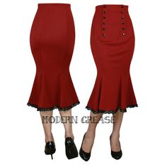 31844f5ff5 Modern Grease Clothing and Accessories Co. - Double Button Red High Waist  Skirt, $29.99