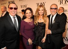 Pin for Later: Hollywood Comes to Broadway For the Tony Awards  Tommy Mottola, Gloria Estefan, Thalia, and Emilio Estefan mingled on the carpet.