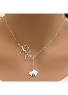 Bird Pendant Silver Sterling Leaves Lariat Necklace | Rosewe.com - USD $4.78