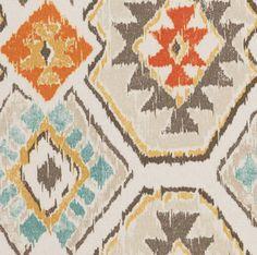 Aqua Orange Brown Ikat Upholstery Fabric by the by PopDecorFabrics