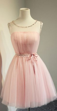 Top Selling Cheap Blush Pink Short Beading Prom Dresses,A-line Cap Sleeves Homecoming Dresses,Bridesmaid Dresses,Beading Sash Prom Dress