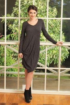 VIGORELLA - Soy Merino Draped Side Long Sleeve Dress