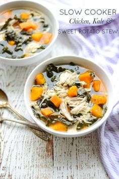This hearty Slow Cooker Chicken, Kale, and Sweet Potato Stew is packed with protein and veggies. Whole 30 Crockpot Recipes, Whole 30 Recipes, Slow Cooker Recipes, Real Food Recipes, Soup Recipes, Cooking Recipes, Healthy Recipes, Crockpot Meals, Slow Cooking