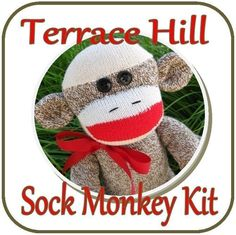 Make Your Own Sock Monkey Kit DIY Pattern and Instructions BROWN. $14.75, via Etsy.