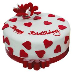 h eart happy birthday cake picture - red and white hearts