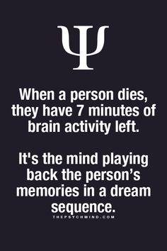 when a person dies, they have 7 minutes of brain activity left. it's the mind playing back the person's memories in a dream sequence.