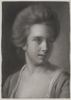 Portrait of a Woman, Her Head Turned to the Right, Wearing an Earring, ca. Joseph Wright (Wright of Derby) (British, Grisaille pastel on blue laid paper