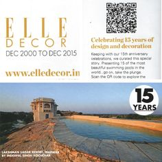 @ELLE DECOR India celebrates 15 years with the 15 best pools in the country! The lustful rock-cut pool at #LakshmanSagar, makes the cut! Book now, for an epic swim!