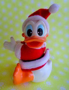 Vintage Disney Donald Duck Santa Clip On Hugger Plush Toy - Christmas #nobrand