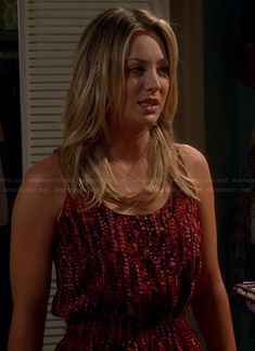 Penny's red printed dress on The Big BangTheory.  Outfit Details: http://wornontv.net/21271/ #TheBigBangTheory #CBS