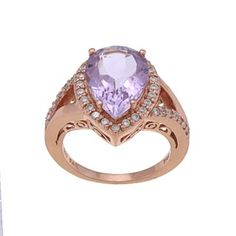 Glitzy Rocks Rose Gold over Silver Amethyst and Cubic Zirconia Ring - costume jewelry but still pretty