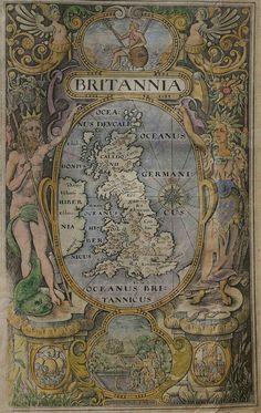 very attractive engraving by William Hole has a design that is based on the work of William Rogers for the smaller sized 1600 printing of Camden's Britannia. Neptune and Ceres flank the central roundel with a map of the British Isles Old World Maps, Old Maps, Vintage Maps, Antique Maps, Antique World Map, Whatsapp Wallpaper, Map Globe, Fantasy Map, Historical Maps