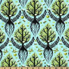 LAMINATED cotton fabric - Tree of Life pool yardage blue Birds and Bees (aka oilcloth, coated vinyl fabric) Tula Pink - WIDE BPA free