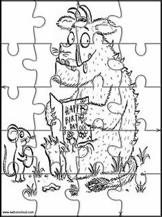 The Gruffalo 4 Printable jigsaw puzzles to cut out for kids Gruffalo Eyfs, Gruffalo Activities, Gruffalo Party, Preschool Activities At Home, The Gruffalo, Pre K Activities, Preschool Literacy, Preschool Lessons, Montessori Activities