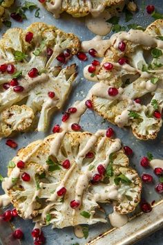 Roasted Cauliflower with Garlic Tahini Sauce and Pomegranate.-Roasted Cauliflower with Garlic Tahini Sauce and Pomegranate – Will Cook For Friends - Cauliflower Recipes, Roasted Cauliflower, Veggie Recipes, Vegetarian Recipes, Cooking Recipes, Healthy Recipes, Cooking Cauliflower, Cauliflower Steaks, Roasted Garlic