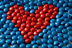 red and blue m's