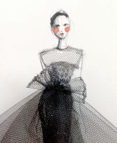 pretty, mixed media fashion illustration - watercolour, tulle, glitter // paper fashion