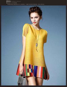 Elegant Short Sleeve Round Collar Loose-Fitting Colorful Stripe Dress For Women Simple Dresses, Casual Dresses, Summer Dresses, African Print Fashion, African Fashion Dresses, Short Ankara Dresses, Formal Dresses Online, Iranian Women Fashion, Linen Dresses