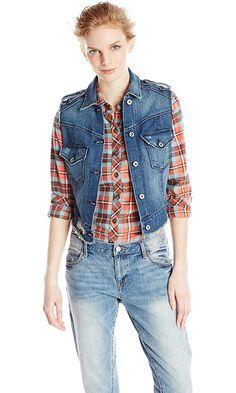 James Jeans Women's Vega Low-High Vest, Indio, Medium Best Price