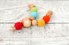Nursing necklace  All natural crochet necklace by kangarusha