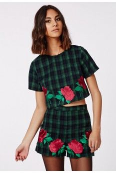 Hattie Rose Embroidered Tartan Crop Top Green