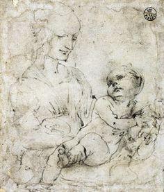 Leonardo da Vinci. Madonna col Bambino e un gatto