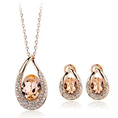 Authentic Austrian champagne crystal 18k gold plated grace lady necklace earrings jewelry set [JS552] - US$15.71 : www.evernewfashion.com