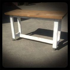 Kitchen Island Bench On Wheels industrial recycled retro high bench table in white & timber with