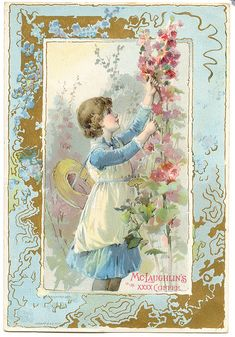 Vintage ephemera. Young girl with flowers on blue. Advertisement