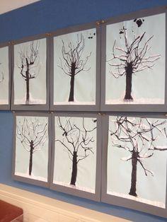 Bomen in de winter Ecoline en verf
