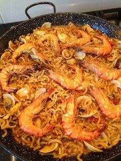 Fideua is a noodle like food from Spain. A variety of different ingredients are put in with it and also a special sauce.