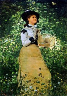 'The Butterfly Girl' - painting by Winslow Homer - New Britain Museum of American Art (United States) - oil on canvas (summer, fine art) American Art, Winslow Homer, Female Art, Painting Reproductions, Homer, Winslow Homer Paintings, American Painting, American Artists, Painting Of Girl