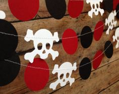 Pirate Party Garland, Pirate Birthday, Pirate Decor, Skull and Crossbones, Pirate Skull, Party Decoration, Red White Black Garland