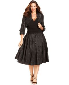 Jessica Howard Women's Plus Size Two Piece Jacket Dress with ...