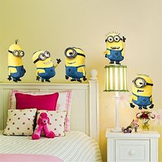 UltimaFioTMminions movie wall stickers for kids room home decorations 1404 diy pvc cartoon decals children gift 3d mural arts posters 30 ** Click image for more details.