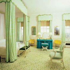 David Hicks bedroom design masterful mixes green geometric fabrics with green geometric rug. David Hicks, Kids Canopy, Canopy Tent, Window Canopy, Tree Canopy, Canopy Outdoor, Canopy Curtains, Outdoor Balcony, London