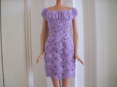 Crochet for Barbie (the belly button body type): Lilac Shell Dress