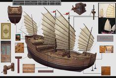 Junk Ship, Grey Warden, Ship Of The Line, Animation Reference, Armada, Ancient China, Model Ships, Battleship, Sailing Ships