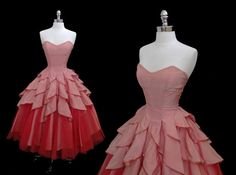 Vintage 1950s Pink Taffeta Red Tulle Sequined Full Petal Skirt Cocktail Party Dress XS/S