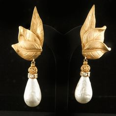 """Miriam Haskell 3\"""" Glass Baroque Pearl Drop Earrings *1980's from Giddy Exclusively on Ruby Lane"""